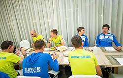Luka Mezgec, Tadej Pogacar, Luka Pibernik and Primoz Roglic at dinner of Team Slovenia during  UCI Road World Championship 2020, on September 24, 2020 in Hotel Lungomare, Rimini, Italy. Photo by Vid Ponikvar / Sportida