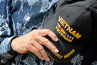 A veteran pauses during God Bless America at Monday's somber Memorial Day remembrances at the Monterey County Vietnam Veterans Memorial in Salinas.