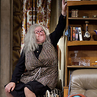 Gregor Fisher as 'Yer Granny' eating the family out of house and home.<br /> <br /> Yer Granny - a new production by The National Theatre of Scotland opens at the Beacon arts Centre, Greenock, Scotland.<br /> <br /> <br /> Based on La Nona by Roberto Cossa<br /> In a new version by Douglas Maxwell<br /> Directed by Graham McLaren<br /> <br /> <br /> Picture by Drew Farrell<br /> Tel : 07721-735041<br /> Image offered on a speculative basis.<br /> <br /> Yer Granny is a riotous new comedy about a diabolical 100-year-old granny who's literally eating her family out of house and home. She's already eaten their fish and chip shop into bankruptcy and now she's working her way through their kitchen cupboards, pushing the Russo family to desperate measures just to survive beyond 1977.<br /> <br /> As proud head of the family, Cammy is determined that The Minerva Fish Bar will rise again and that family honour will be restored – and all in time for the Queen's upcoming Jubilee visit. But before Cammy's dream can come true and before Her Maj can pop in for a chat, a single sausage and a royal seal of approval, the family members must ask themselves how far they will go to solve a problem like Yer Granny.<br /> <br /> Adapted from the smash-hit Argentinian comedy classic La Nona, the cast of Yer Granny features some of Scotland's best-loved performers, including Gregor Fisher in the title role, alongside Paul Riley (Still Game), Jonathan Watson (Only An Excuse?), Maureen Beattie (Casualty), Barbara Rafferty (Rab C Nesbitt), Brian Pettifer (The Musketeers) and Louise McCarthy (Mamma Mia!, West End).<br /> <br /> Performance dates :<br /> The Beacon Arts Centre, Greenock<br /> 19/05/2015-21/05/2015 <br /> <br /> King's Theatre, Glasgow<br /> 26/05/2015-30/05/2015 <br /> <br /> King's Theatre, Edinburgh<br /> 02/06/2015-06/06/2015 <br /> <br /> Eden Court, Inverness<br /> <br /> Lyric Theatre, Belfast<br /> 23/06/2015-27/06/2015 <br /> <br /> Dundee Rep Theatre<br /> 30/06/2015-