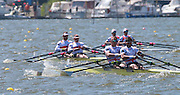 """""""Please read the caption carefully"""". Brandenburg. GERMANY. GBR M2X John Collins and Jonny WALTON battling the conditions, as well as the GERM2X and CRO M2X, at the 1000 meter mark. 2016 European Rowing Championships at the Regattastrecke Beetzsee<br /> <br /> Sunday  08/05/2016 <br /> <br /> [Mandatory Credit; Igor MEIJER/Intersport-images]"""
