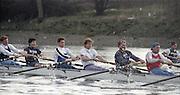 London. England, Old Blue 2. Ben HUNT DAVIS, 4, Cal MACLENNAN, 5. Jonny SEARLE, 6 Matt PINSENT,, 7. Pete BRIDGE stroke Rupert OBHOLZER.Oxford University BC, Pre Boat Race Fixture, Oxford University vs Old Blue's eight. River Thames, Putney.<br /> <br /> [Mandatory Credit;Peter SPURRIER/Intersport Images] 1990's Varsity Pre race Fixture. Oxford University BC vs Old Blues Eight.