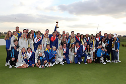Team Europe celebrate winning the Ryder Cup with their wives and girlfriends at Le Golf National, Saint-Quentin-en-Yvelines, Paris.