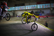 #127 (TREIMANIS Edzus) LAT gets waaaay back at the 2014 UCI BMX Supercross World Cup in Manchester.