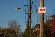 Love sign nailed to telegraph pole on 11th March 2020 in Bywater, New Orleans, Louisianna, United States.