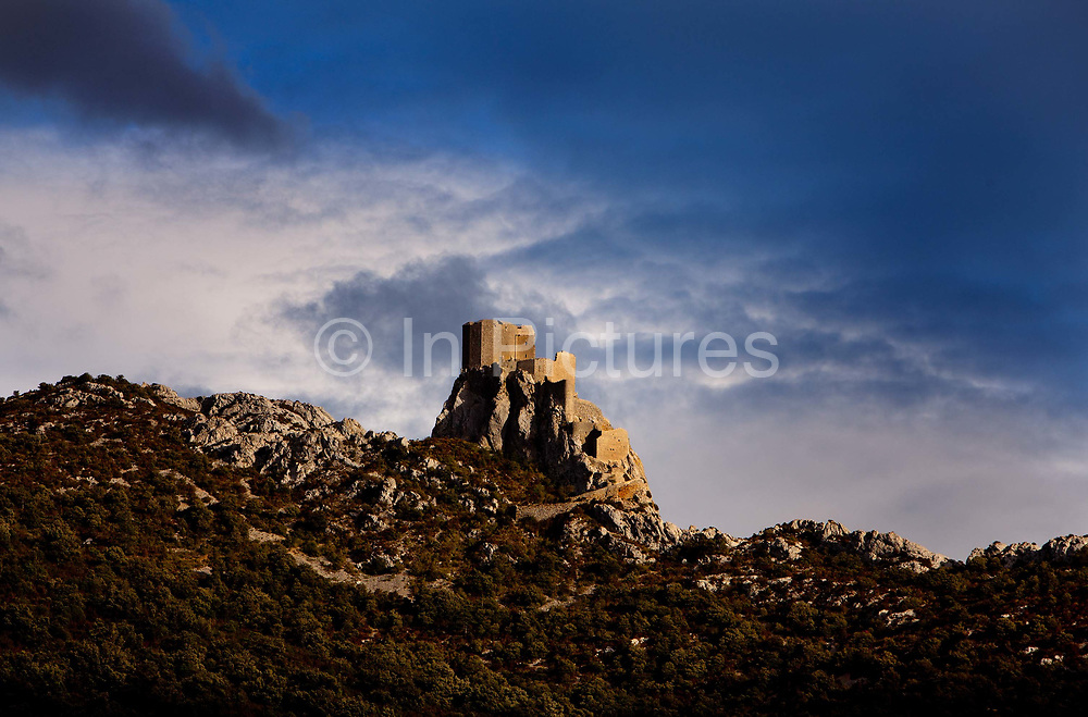 View of  Quéribus castle in the Cathar region of the Pyrannees, 8th October 2011, Peyrepertuse, France.