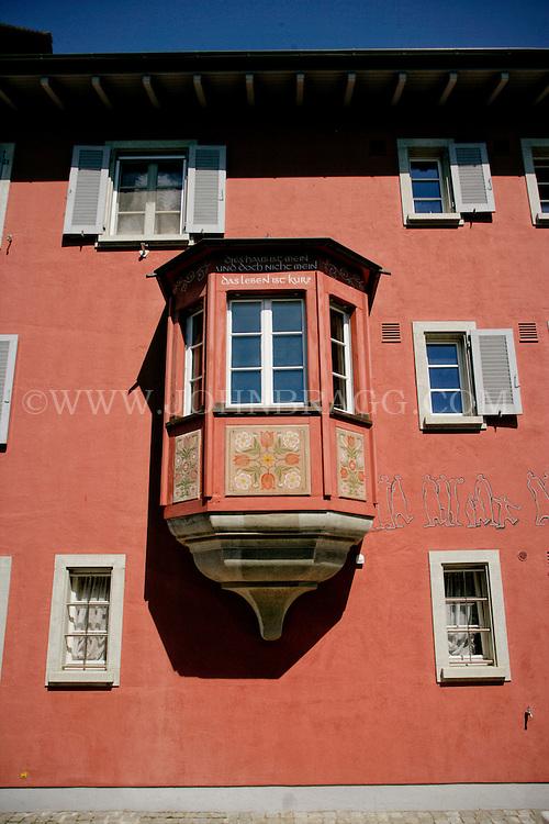 A historic townhouses and town hall in the market place, Stein am Rhein, Canton Schaffhausen, Switzerland, Europe