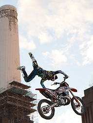 12.08.2010, Battersea Power Station, London, ENG, Red Bull X Fighters, im Bild ein Teilnehmer des Red Bull X-Fighters Moto X im Sprung bei Schornsteinen vorbei, EXPA Pictures © 2010, PhotoCredit: EXPA/ M. Gunn