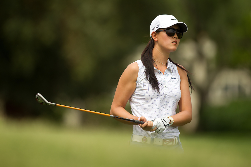 RANCHO MIRAGE, CA - APRIL 2: Michelle Wie plays a shot during the third round of the 2011 Kraft Nabisco Championship at Mission Hills Country Club in Rancho Mirage, California on April 2, 2011. (Photograph ©2011 Darren Carroll) *** Local Caption *** Michelle Wie