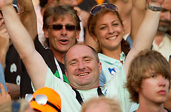 Slovenia's Albert Soba,  coach Slavko Malnar and  Liona Rebernik watching Snezana Rodic of Slovenia when she competes during the women's triple jump final at the 2010 European Athletics Championships at the Olympic Stadium in Barcelona on July 31, 2010.(Photo by Vid Ponikvar / Sportida)