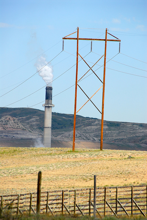 Powerline and the smokestack of the Elkol coal plant in Wyoming.
