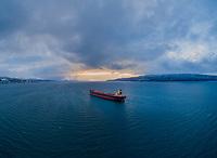 Aerial photo of the bulk carrier 'Aquaexplorer' anchored in Ofotfjord in Narvik, Northern Norway.