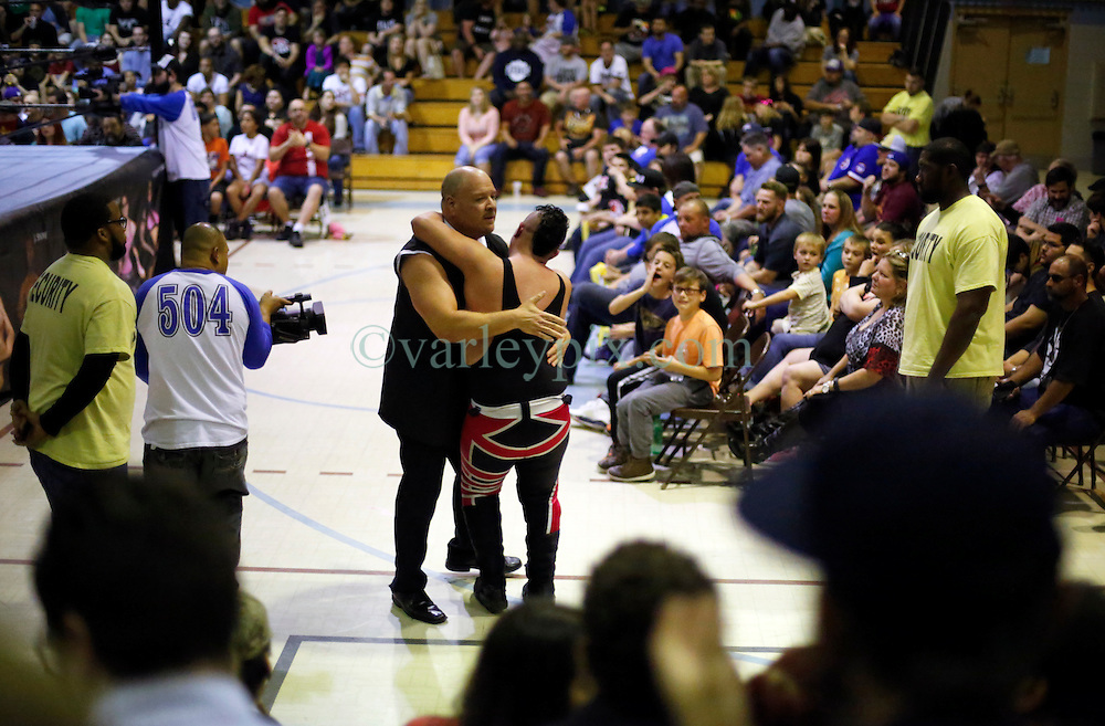 12 March 2016. Metairie, Louisiana.<br /> Wrestling action from Wildkat Sports and Entertainment's 'March into Mayhem' at the Meisler Middle School.<br /> Wrestler Socorro with Hardbody Harper defeated Scott Phoenix.<br /> Photo©; Charlie Varley/varleypix.com