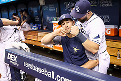 June 9, 2017 - St. Petersburg, Florida, U.S. - WILL VRAGOVIC       Times.Tampa Bay Rays center fielder Kevin Kiermaier (39) with right fielder Steven Souza Jr. (20) in the dugout before the start of the game between the Tampa Bay Rays and the Oakland Athletics at Tropicana Field in St. Petersburg, Fla. on Friday, June 79, 2017. Kevin Kiermaier will miss about two months with a fractured hip. (Credit Image: © Will Vragovic/Tampa Bay Times via ZUMA Wire)