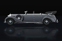 The 1938 Mercedes 770-K limousine was then the car preferred by world leaders. Ferdinand Porsche designed this Mercedes 770-K limousine before he founded his own brand and the leaders of Germany loved it. At the end of the Second World War it was used by American generals. The 1938 Mercedes 770-K limousine consists of several versions. With off-road tyres and even with the rear wheels replaced by tracks.<br /> <br /> This painting of a 1938 Mercedes 300 S Mercedes 770-K limousine can be printed very large on different materials -<br /> BUY THIS PRINT AT<br /> <br /> FINE ART AMERICA<br /> ENGLISH<br /> https://janke.pixels.com/featured/mercedes-770-k-lateral-view-jan-keteleer.html<br /> <br /> WADM / OH MY PRINTS<br /> DUTCH / FRENCH / GERMAN<br /> https://www.werkaandemuur.nl/nl/shopwerk/Mercedes-770-K-Zijaanzicht/738469/132?mediumId=11&size=75x50<br /> <br /> -