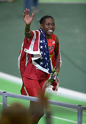 Brittney Reese of the United States celebrates after winning the gold medal in the Women's Long Jump Final during day two of the IAAF World Indoor Championships at Oregon Convention Center in Portland, Oregon, the United States, on March 18, 2016. EXPA Pictures © 2016, PhotoCredit: EXPA/ Photoshot/ Yin Bogu<br /> <br /> *****ATTENTION - for AUT, SLO, CRO, SRB, BIH, MAZ, SUI only*****