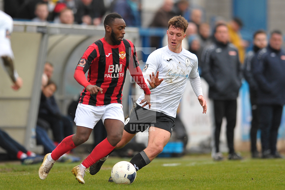 TELFORD COPYRIGHT MIKE SHERIDAN Ryan Sears of Telford (on loan from Shrewsbury Town) battles for the ball with Omari Stirling-James of Kettering during the Vanarama Conference North fixture between AFC Telford United and Kettering at The New Bucks Head on Saturday, March 14, 2020.<br /> <br /> Picture credit: Mike Sheridan/Ultrapress<br /> <br /> MS201920-050