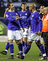Fotball<br /> England 2004/2005<br /> Foto: BPI/Digitalsport<br /> NORWAY ONLY<br /> <br /> Leicester City v Queens Park Rangers<br /> Coca-Cola Championship<br /> 03/01/2005<br /> <br /> Leicester's Gareth Williams and Richard Stearman congratulate each other at full time.