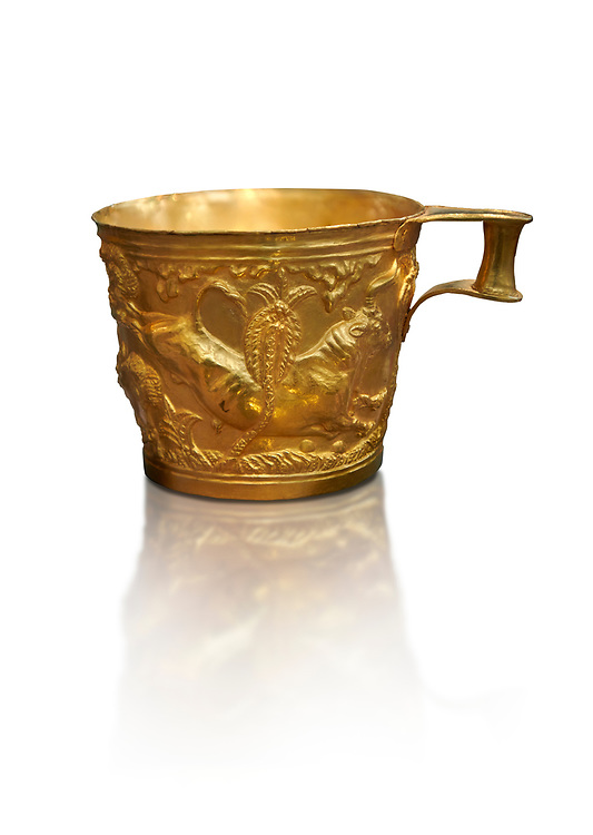 Vapheio type Mycenaean gold cup depicting a wild bull hunt side D, Vapheio Tholos Tomb, Lakonia, Greece. National Archaeological Museum of Athens.  White background.<br /> <br />  Two masterpieces of Creto - Mycenaean gold metalwork were excavated from a tholos tomb near Lakonia in Sparta in 1988. Made in the 15th century BC, the gold cups are heavily influenced by the Minoan style that was predominant in the Agean at the time. The bull hunt was popular with  Mycenaean  and Minoan artists and symolised power and fertility. The distinctive shape of the cup is kown as 'Vapheio type'. .<br /> <br /> If you prefer to buy from our ALAMY PHOTO LIBRARY  Collection visit : https://www.alamy.com/portfolio/paul-williams-funkystock/mycenaean-art-artefacts.html . Type -   Athens    - into the LOWER SEARCH WITHIN GALLERY box. Refine search by adding background colour, place, museum etc<br /> <br /> Visit our MYCENAEN ART PHOTO COLLECTIONS for more photos to download  as wall art prints https://funkystock.photoshelter.com/gallery-collection/Pictures-Images-of-Ancient-Mycenaean-Art-Artefacts-Archaeology-Sites/C0000xRC5WLQcbhQ