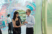 MICHAEL LANDY; GILLIAN WEARING, Serpentine's Summer party co-hosted with Christopher Kane. 15th Serpentine Pavilion designed by Spanish architects Selgascano. Kensington Gardens. London. 2 July 2015.