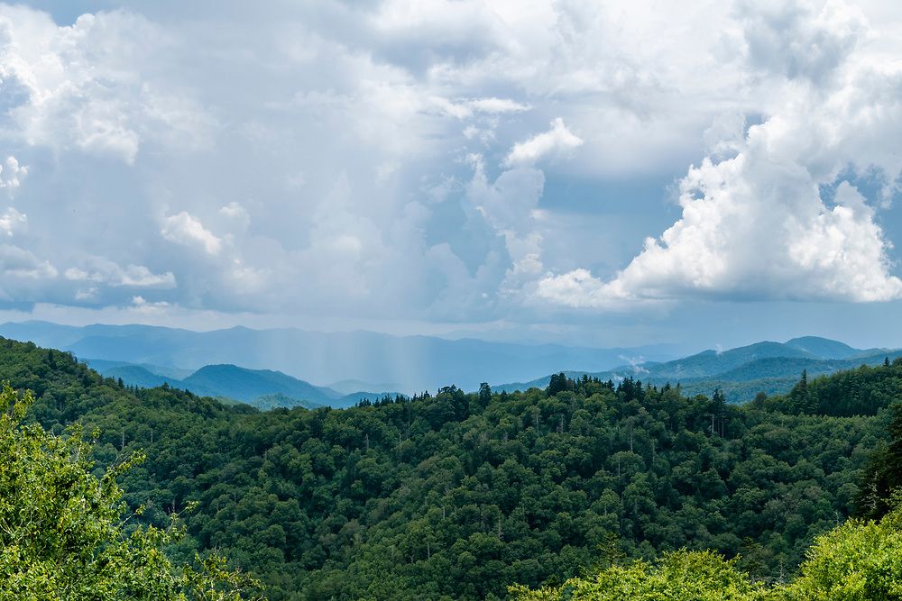 A summer storm moves across the landscape near the Newfound Gap in Great Smoky Mountains National Park in Gatlinburg, Tennessee on Thursday, August 13, 2020. Copyright 2020 Jason Barnette