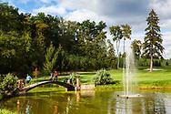 18-09-2015: Golf & Spa Resort Konopiste in Benesov, Tsjechië.<br /> Foto: Het bruggetje naar de achttiende