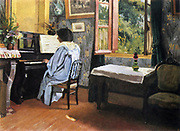 A woman at the Piano'  1904.   Woman in blue dress at piano by an open window. Felix Vallotton (1865-1926) Swiss painter and printmaker.