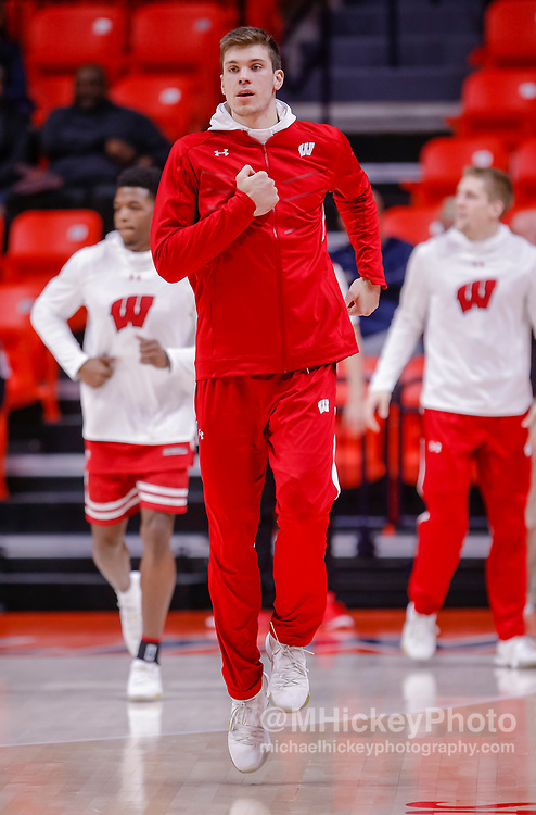 CHAMPAIGN, IL - JANUARY 23: Ethan Happ #22 of the Wisconsin Badgers is seen before the game against the Illinois Fighting Illini at State Farm Center on January 23, 2019 in Champaign, Illinois. (Photo by Michael Hickey/Getty Images) *** Local Caption *** Ethan Happ