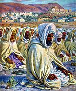 The Prayer.  Illustration by E. Dinet (1861-1929) for 'La Vie de Mohammed, prophete d'Allah'.