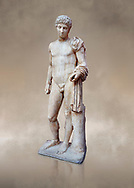 Roman marble statue of Hermes found at Aigion, Pelopenese. 27 BC - 14 AD. Athens Archaeological Museum Cat No 241.<br /> <br /> Hermes is depicted standing wearing a chalamys that is wound around his lest arm. In his right hand he holds a purse and in his left a 'caduceus'. Augustan Roman period .<br /> <br /> If you prefer to buy from our ALAMY STOCK LIBRARY page at https://www.alamy.com/portfolio/paul-williams-funkystock/greco-roman-sculptures.html . Type -    Athens    - into LOWER SEARCH WITHIN GALLERY box - Refine search by adding a subject, place, background colour, etc.<br /> <br /> Visit our ROMAN WORLD PHOTO COLLECTIONS for more photos to download or buy as wall art prints https://funkystock.photoshelter.com/gallery-collection/The-Romans-Art-Artefacts-Antiquities-Historic-Sites-Pictures-Images/C0000r2uLJJo9_s0