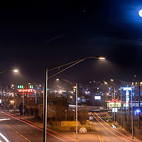 020415       Cable Hoover<br /> <br /> The moon rises over the west Y where Historic Route 66 meets Coal avenue in Gallup Wednesday.