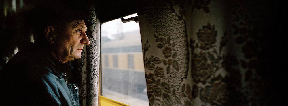 Passenger on the Trans Siberian Railway, Siberia, Russia