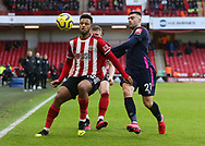 Lys Mousset of Sheffield Utd and Diego Rico of Bournemouth in action during the Premier League match at Bramall Lane, Sheffield. Picture date: 9th February 2020. Picture credit should read: Chloe Hudson/Sportimage