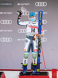 Third placed Meta Hrovat (SLO) celebrates during trophy ceremony after 2nd Run of Ladies' Giant Slalom at 57th Golden Fox event at Audi FIS Ski World Cup 2020/21, on January 17, 2021 in Podkoren, Kranjska Gora, Slovenia. Photo by Vid Ponikvar / Sportida