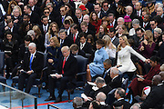 Ivanka Trump, right, reaches for her husband Jared Kushner during the 68th Inauguration Ceremony on Capitol Hill January 20, 2017 in Washington, DC.