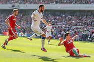 Middlesbrough defender George Friend watches as Leeds United forward Mirco Antenucci  shot is saved during the Sky Bet Championship match between Middlesbrough and Leeds United at the Riverside Stadium, Middlesbrough, England on 27 September 2015. Photo by Simon Davies.