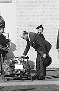 Picture shows Seamus O'Riain, President of the GAA laying a wreath at the Garden of Rememberance, Parnell Square, Dublin during a luncheon interval of congress....Annual Congress, GAA. 6.4.1969.  6th April 1969