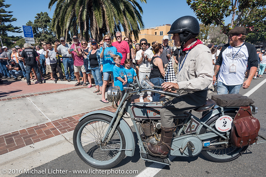 3,400 miles from the Atlantic to the Pacific - The journey is over. Steve Decosa of New York riding his 1915 Harley-Davidson crosses the finish line of the Motorcycle Cannonball Race of the Century. Stage-15 ride from Palm Desert, CA to Carlsbad, CA. USA. Sunday September 25, 2016. Photography ©2016 Michael Lichter.