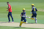 Hampshire wicketkeeper-batsman Adam Wheater and Tom Alsop take a run off the bowling of David Masters during the Royal London One Day Cup match between Hampshire County Cricket Club and Essex County Cricket Club at the Ageas Bowl, Southampton, United Kingdom on 5 June 2016. Photo by David Vokes.