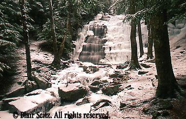 Bear Creek Waterfall, Winter Ice and Snow, Bear Creek, Luzerne Co., PA