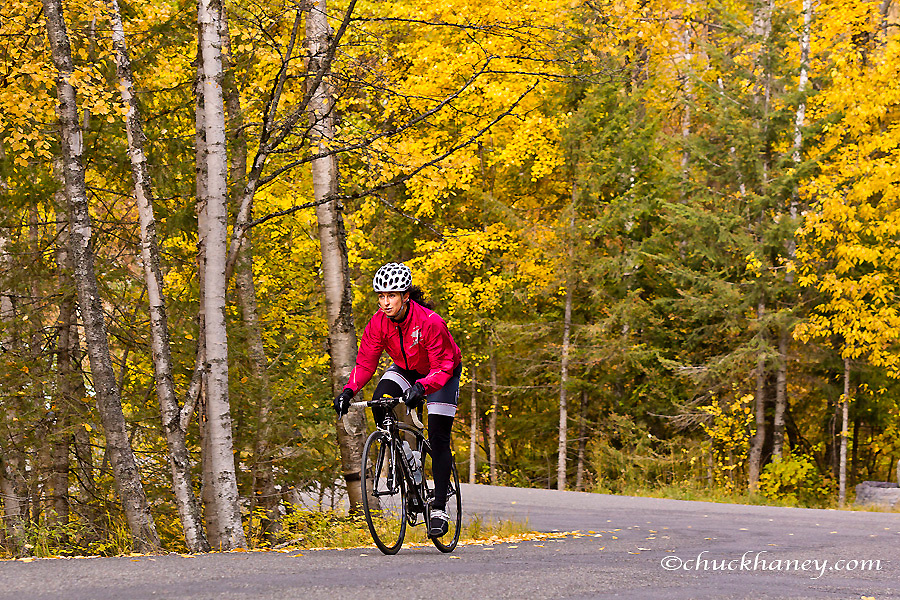 Road biking on East Lakeshore Drive in autumn in Whitefish, Montana, USA MR