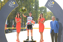 Ireland's Daniel Martin celebrates after he received a prize for being the Tour de France's most aggressive rider, after the 21st and last stage of the 105th edition of the Tour de France cycling race between Houilles and Paris Champs-Elysees, in Paris, France, on July 29, 2018. Photo by Eliot Blondet/ABACAPRESS.COM