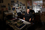 Carol Dana, language keeper, photographed in her office at the Penobscot Nation Cultural and Historic Preservation Department, Indian Island. Ms. Dana is a member of the Penobscot Nation, recipient of a Lifetime Achievement Award from the Algonquinian Language Conference for her work on the revitalization of the Penobscot language, a teacher of the Penobscot language, the author of two books of poetry, and is currently collaborating on a bilingual book of traditional Penobscot tales.