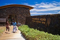 woman tourists entering Puukohola Heiau National Historic Site, Kawaihae, Kohala, Big Island, Hawaii, USA, Model Released - MR#: 000102, 000103