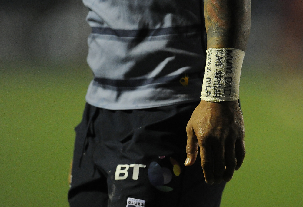 Close-up detail of a bandage on Cardiff Blues' Rey Lee-Lo's wrist<br /> <br /> Photographer Kevin Barnes/CameraSport<br /> <br /> Guinness Pro14 Round 15 - Cardiff Blues v Munster Rugby - Saturday 17th February 2018 - Cardiff Arms Park - Cardiff<br /> <br /> World Copyright © 2018 CameraSport. All rights reserved. 43 Linden Ave. Countesthorpe. Leicester. England. LE8 5PG - Tel: +44 (0) 116 277 4147 - admin@camerasport.com - www.camerasport.com