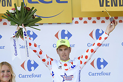 July 8, 2018 - La Roche-Sur-Yon, FRANCE - New Zealand's Dion Smith of Wanty-Groupe Gobert pictured on the podium wearing the polka-dot jersey for the best climber after the second stage of the 105th edition of the Tour de France cycling race, 182,5km from Mouilleron-Saint-Germain to La Roche-sur-Yon, France, Sunday 08 July 2018. This year's Tour de France takes place from July 7th to July 29th. BELGA PHOTO YORICK JANSENS (Credit Image: © Yorick Jansens/Belga via ZUMA Press)