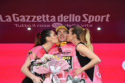 BOLOGNA, ITALY - MAY 11: Podium / Primoz Roglic of Slovenia and Team Jumbo - Visma Pink Leader Jersey / Celebration / during the 102nd Giro d'Italia 2019, Stage 1 a 8km Individual Time Trial from Bologna to San Luca-Bologna 274m / ITT / Tour of Italy / #Giro / @giroditalia / on May 11, 2019 in Bologna, Italy. Photo by Massimo Paolone/LaPresse