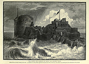 Wood engraving of The castle and the harbour of Saida, the ancient Sidon. Called Kul'at el Bahr (Castle on the Sea). It stands on a rocky island opposite the north-east end of the town, with which it is connected by an embankment with arches. from 'Picturesque Palestine, Sinai and Egypt' by Wilson, Charles William, Sir, 1836-1905; Lane-Poole, Stanley, 1854-1931 Volume 3. Published in by J. S. Virtue and Co 1883