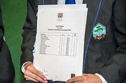 Pictured: Happy reading for Lewis Britain<br /> <br /> Education Secretary  John Swinney visited Firrhill School today and met students and parents as the results wer available for opening.<br /> <br /> <br /> Ger Harley | EEm 7 August 2018