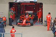 Scuderia Ferrari pit lane activity showing Kimi Raikkonen leaving the garage in warm up for the Canadian Grand Prix.