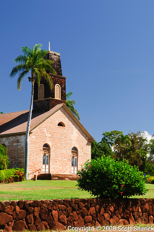 Originally built in the 1830's this church in Waimea, Kauai, Hawaii was almost destroyed by Hurricane Iniki in 1992.